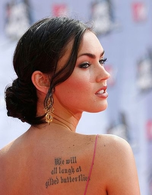 Megan Fox is a very beautiful girl, no question. She has a lot of tattoos.
